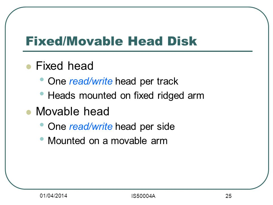 01/04/2014 IS50004A 25 Fixed/Movable Head Disk Fixed head One read/write head per track Heads mounted on fixed ridged arm Movable head One read/write head per side Mounted on a movable arm
