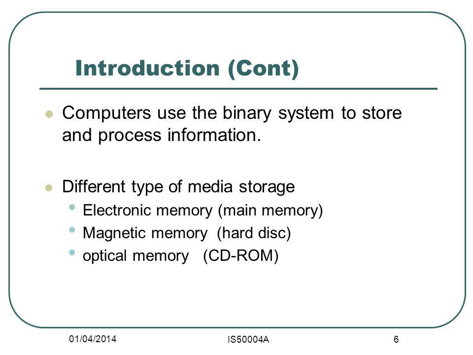 01/04/2014 IS50004A 7 CPU Main memory Add. bus Data bus Control bus