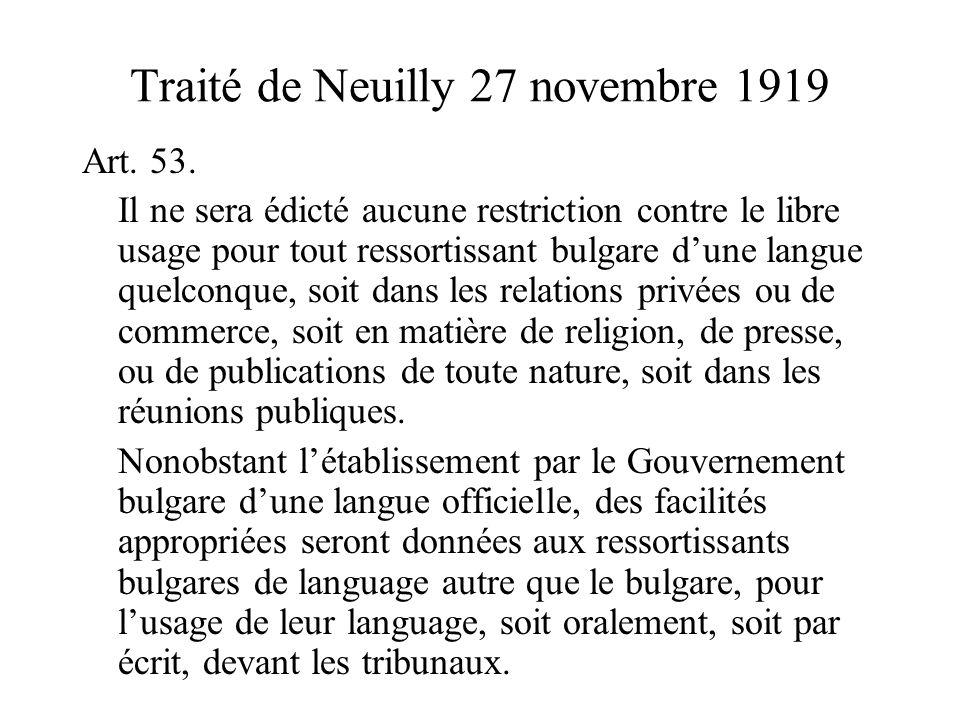 Traité de Neuilly 27 novembre 1919 Art. 53.