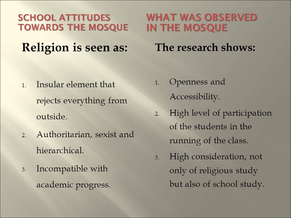 SCHOOL ATTITUDES TOWARDS THE MOSQUE WHAT WAS OBSERVED IN THE MOSQUE Religion is seen as: 1.