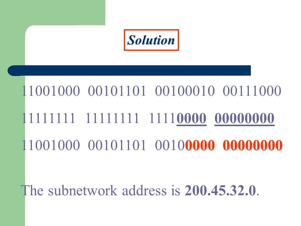 Solution 11001000 00101101 00100010 00111000 11111111 11111111 11110000 00000000 000000000000 11001000 00101101 00100000 00000000 The subnetwork address is 200.45.32.0.