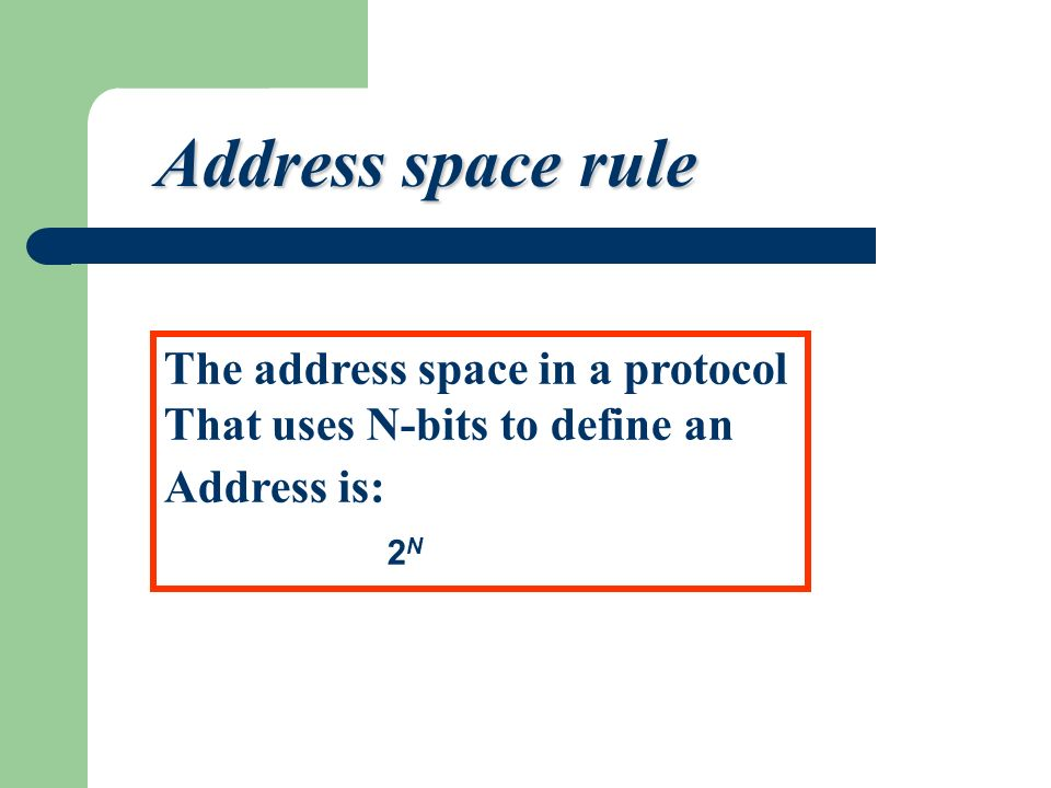 Address space rule addr15 addr1 addr2 addr41 addr31 addr226 ………….. The address space in a protocol That uses N-bits to define an Address is: 2 N