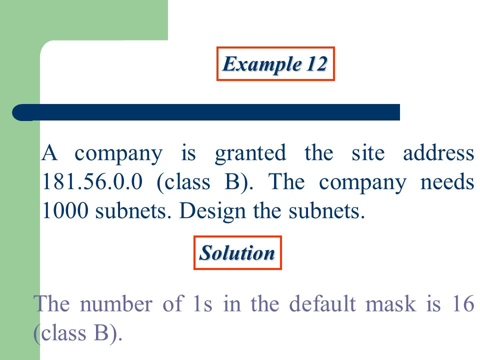 Example 12 A company is granted the site address (class B).