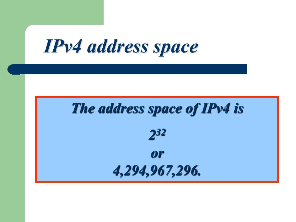 The address space of IPv4 is 2 32 or 4,294,967,296. IPv4 address space