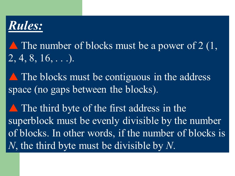 Rules: The number of blocks must be a power of 2 (1, 2, 4, 8, 16,...).