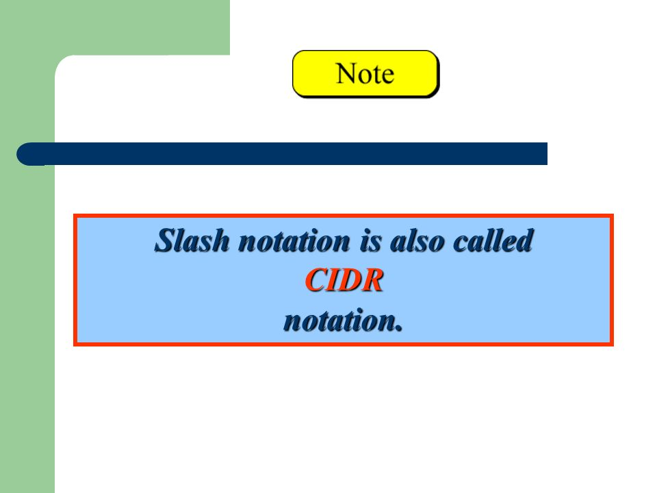 Slash notation is also called CIDR notation.