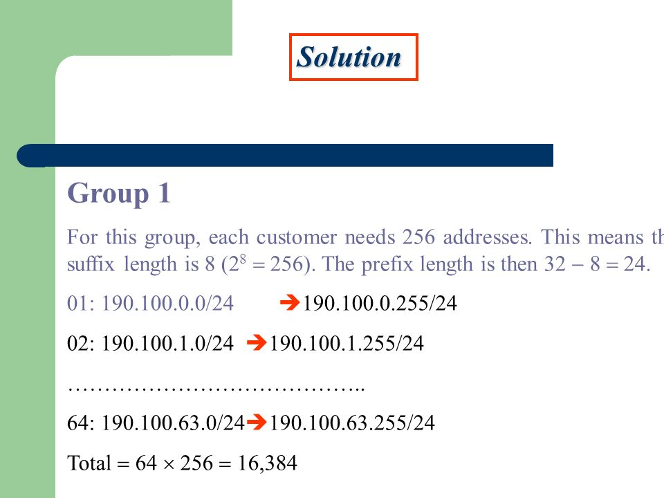 Solution Group 1 For this group, each customer needs 256 addresses. This means the suffix length is 8 (2 8 256). The prefix length is then 32 8 24. 01