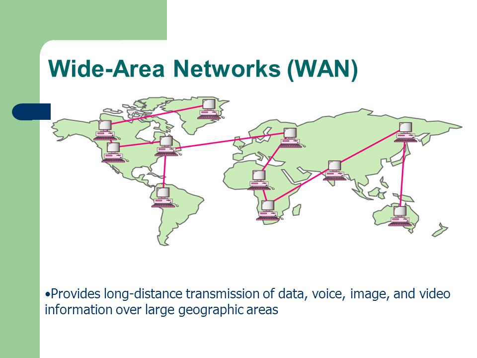 Provides long-distance transmission of data, voice, image, and video information over large geographic areas Wide-Area Networks (WAN)