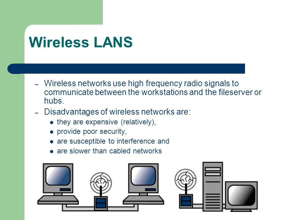 Wireless LANS – Wireless networks use high frequency radio signals to communicate between the workstations and the fileserver or hubs. – Disadvantages
