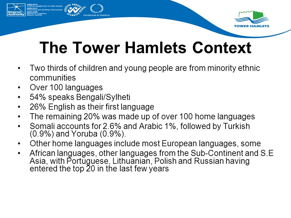 The Tower Hamlets Context Two thirds of children and young people are from minority ethnic communities Over 100 languages 54% speaks Bengali/Sylheti 26% English as their first language The remaining 20% was made up of over 100 home languages Somali accounts for 2.6% and Arabic 1%, followed by Turkish (0.9%) and Yoruba (0.9%).