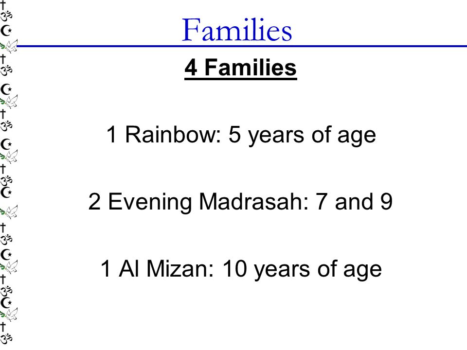 Families 4 Families 1 Rainbow: 5 years of age 2 Evening Madrasah: 7 and 9 1 Al Mizan: 10 years of age