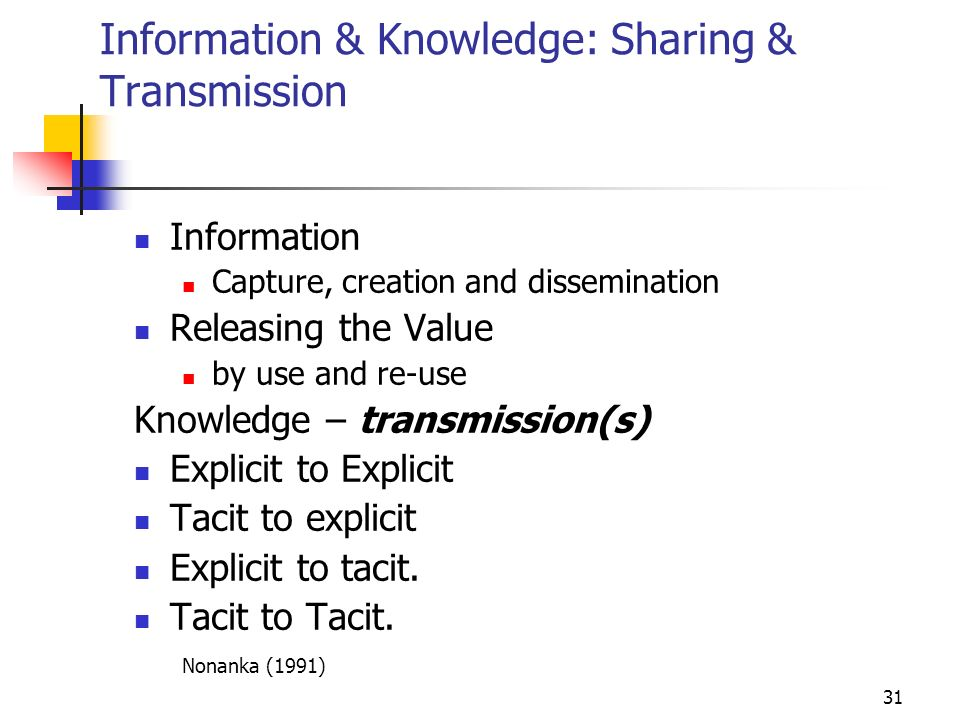 30 Data, Information & Knowledge Cyclic Model Accumulate Knowledge (Experience) Format, Filter Summarise Interpret, Decide, Act Knowledge Information Results Data