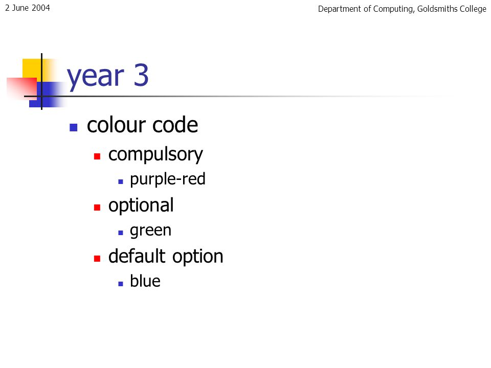 Department of Computing, Goldsmiths College 2 June 2004 year 3 colour code compulsory purple-red optional green default option blue