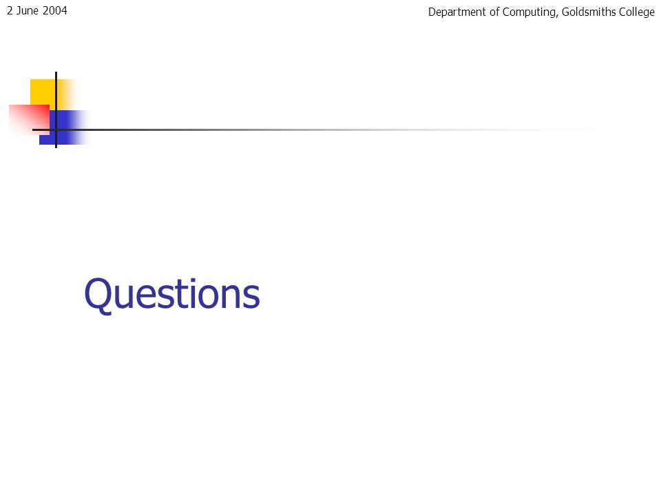 Department of Computing, Goldsmiths College 2 June 2004 Questions
