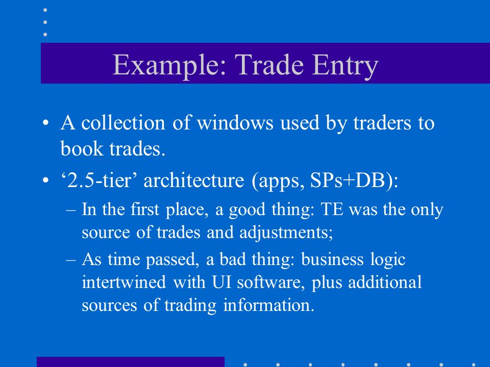 Example: Trade Entry A collection of windows used by traders to book trades.