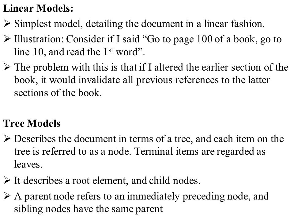 Linear Models: Simplest model, detailing the document in a linear fashion.
