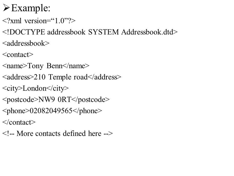 Example: Tony Benn 210 Temple road London NW9 0RT 02082049565