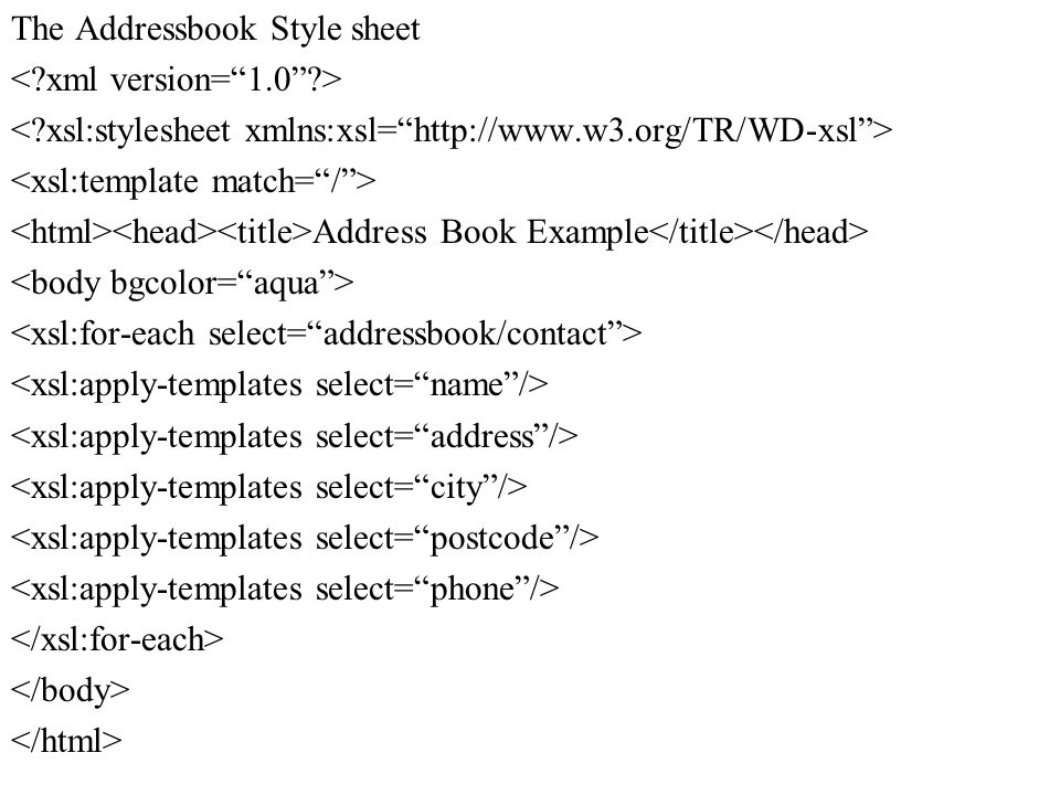 The Addressbook Style sheet Address Book Example