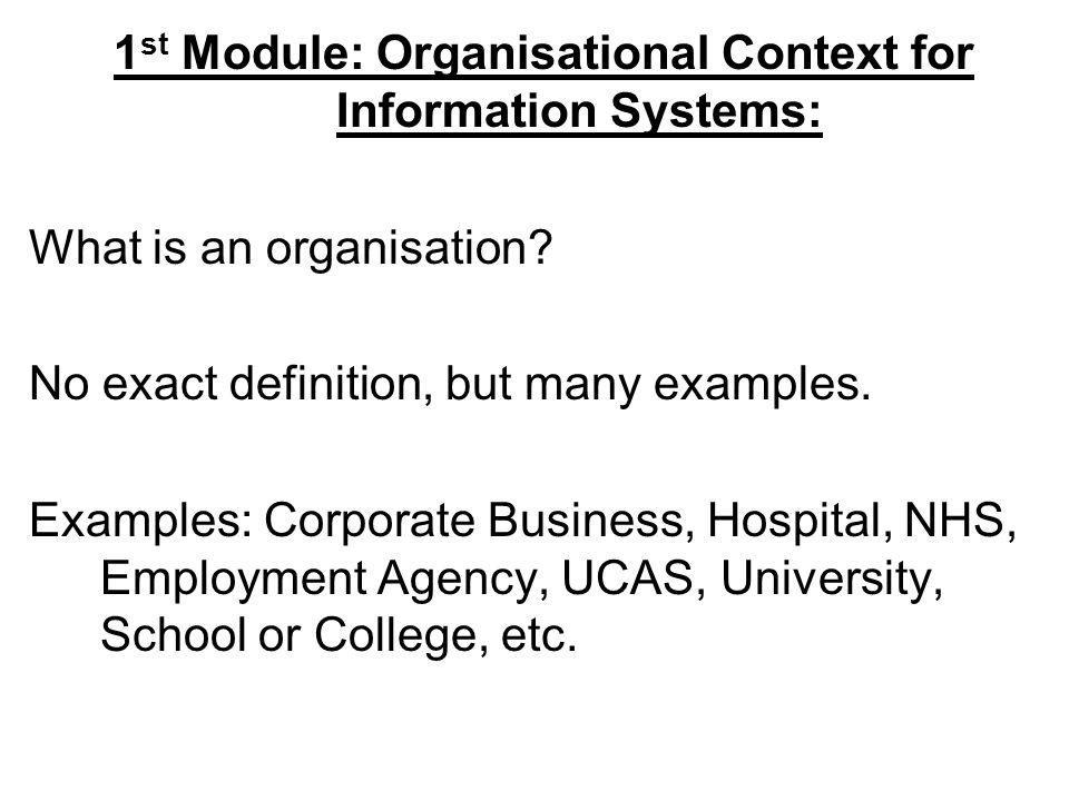 1 st Module: Organisational Context for Information Systems: What is an organisation.