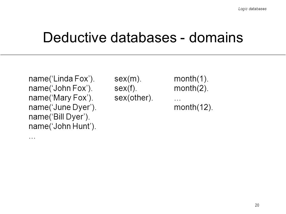 Logic databases 20 Deductive databases - domains name(Linda Fox).