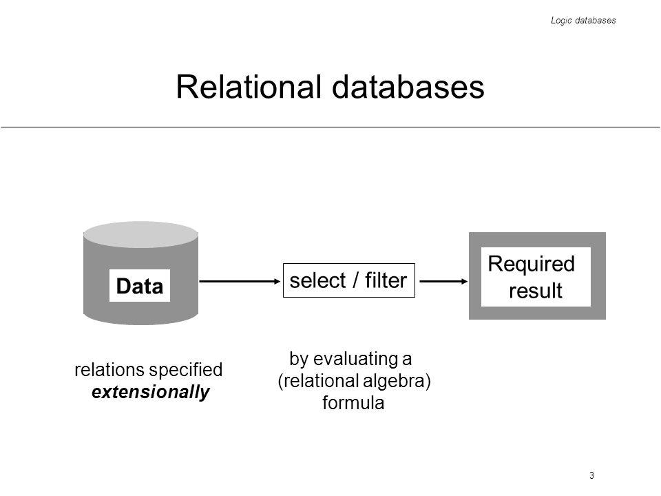 Logic databases 44 Advantages of deductive databases representational uniformity operational uniformity semantic modelling extended application