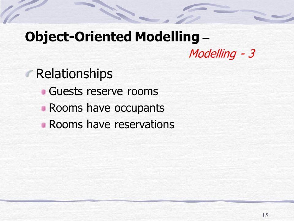 14 Object-Oriented Modelling – Modelling - 2 Reservation (booking) Attributes Type: name Guest: guest, Room: room, Date: received, from, to, status (T, R), confirmed (Y/N) Actions Type (of output) name (inputs) setGuest(Guest g), setRoom(Room r), fromDate(Date f), toDate(Date t), confirm(), cancel()