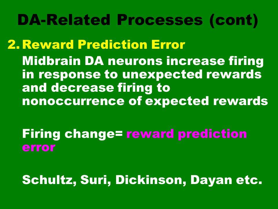 DA-Related Processes (cont) 2.Reward Prediction Error Midbrain DA neurons increase firing in response to unexpected rewards and decrease firing to non