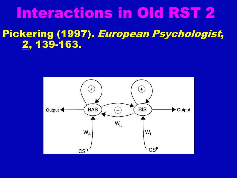 Interactions in Old RST 2 Pickering (1997). European Psychologist, 2, 139-163.