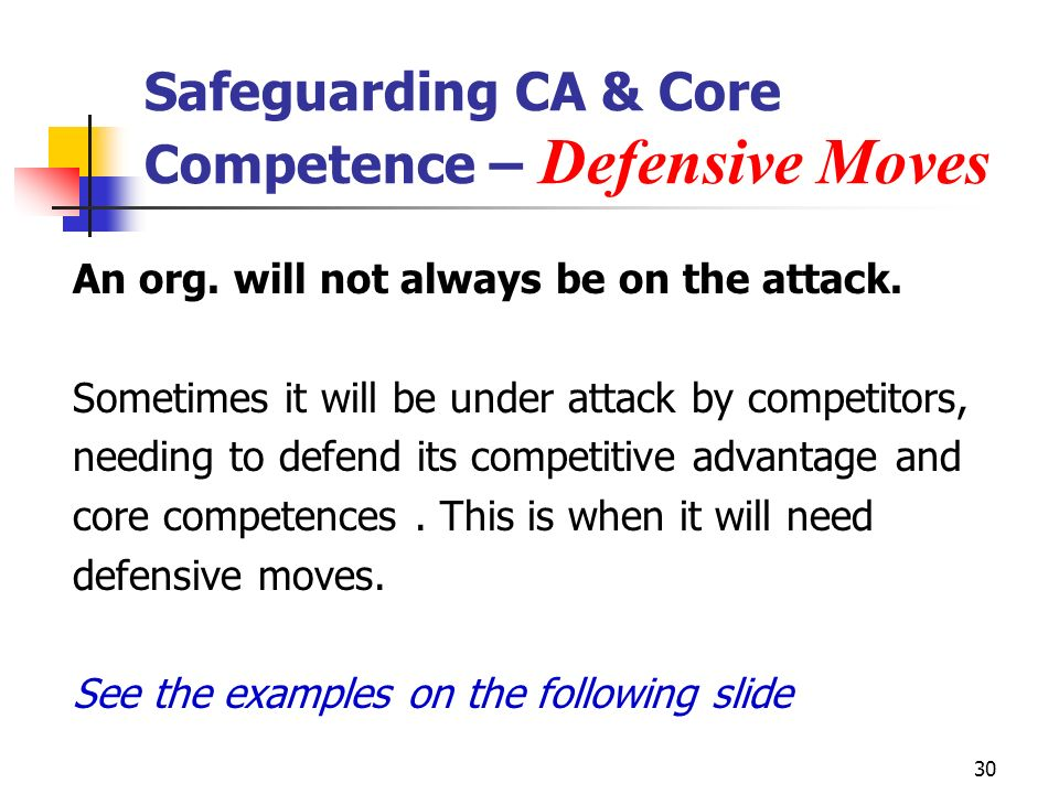 30 Safeguarding CA & Core Competence – Defensive Moves An org.