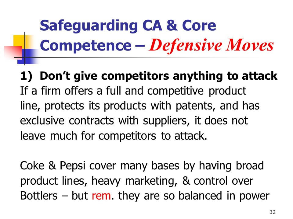 32 Safeguarding CA & Core Competence – Defensive Moves 1)Dont give competitors anything to attack If a firm offers a full and competitive product line, protects its products with patents, and has exclusive contracts with suppliers, it does not leave much for competitors to attack.