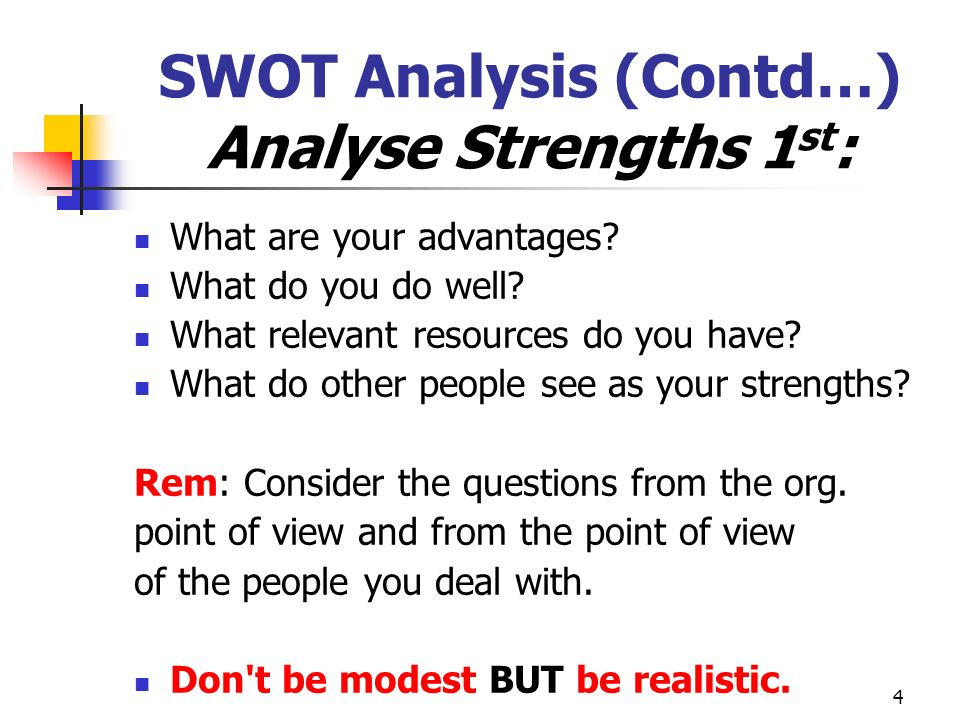4 SWOT Analysis (Contd…) Analyse Strengths 1 st : What are your advantages.