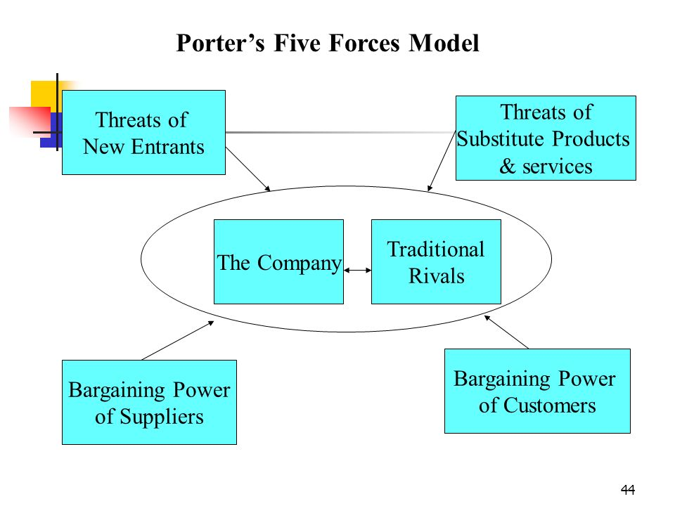 44 The Company Traditional Rivals Threats of New Entrants Threats of Substitute Products & services Bargaining Power of Customers Bargaining Power of Suppliers Porters Five Forces Model