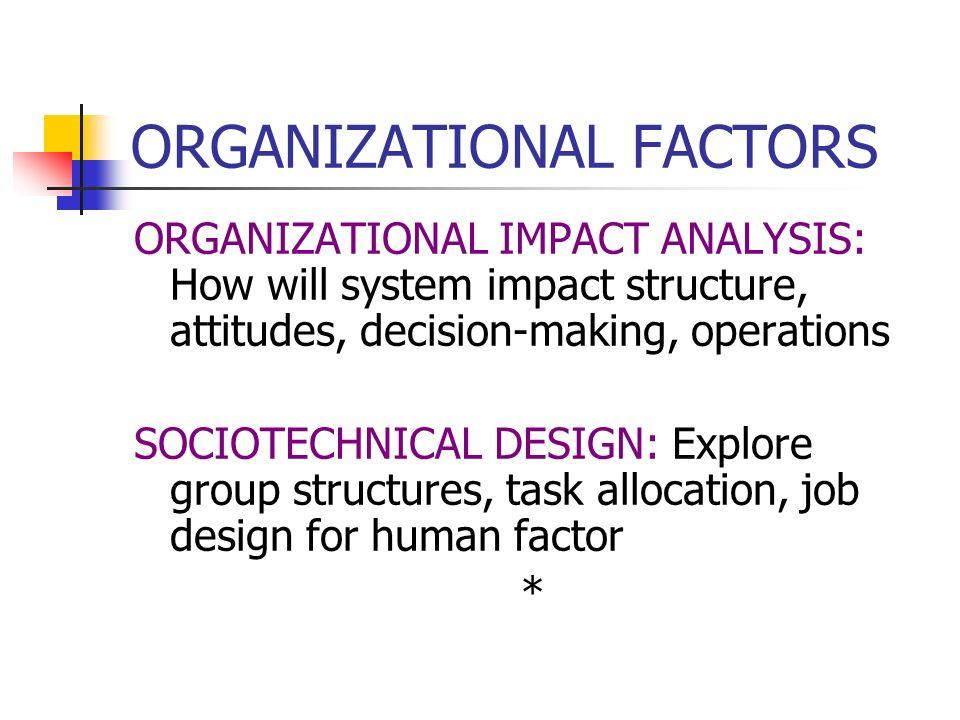 ORGANIZATIONAL FACTORS MONITOR PROGRESS: Completion of tasks, fulfillment of goals CONTROL RISK FACTORS: Cost / benefits *
