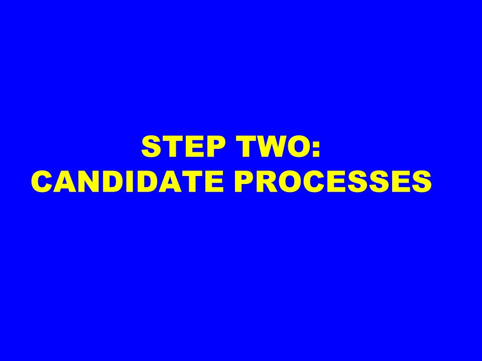 STEP TWO: CANDIDATE PROCESSES