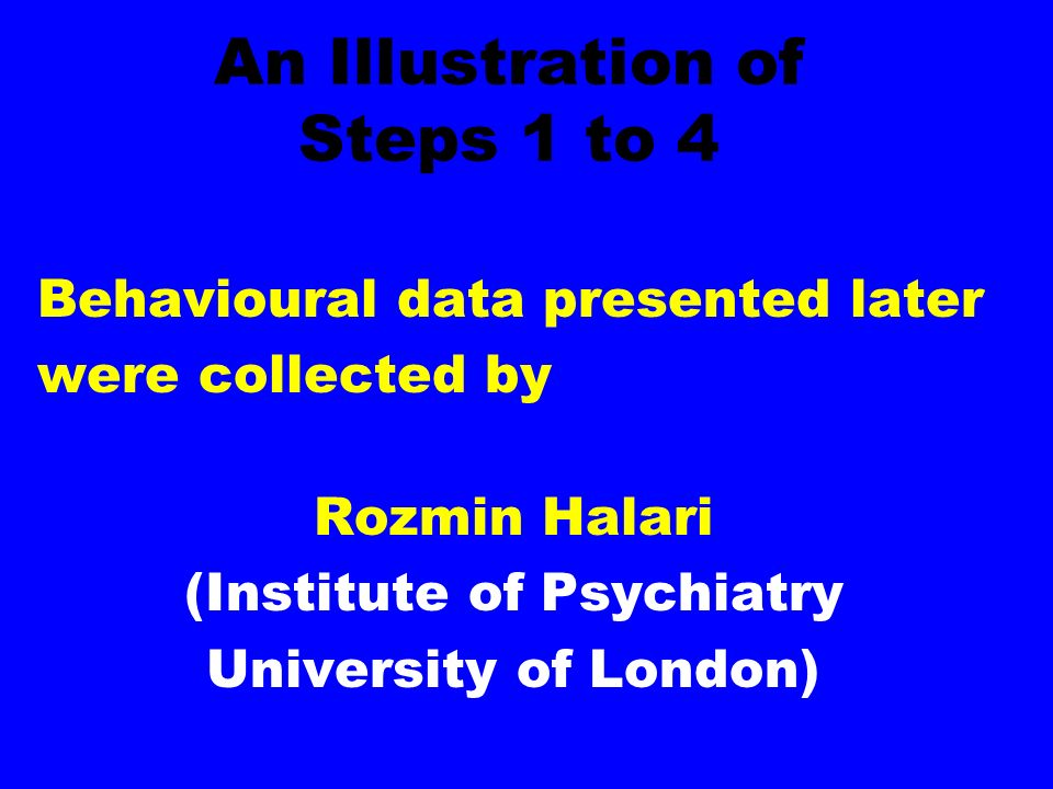 An Illustration of Steps 1 to 4 Behavioural data presented later were collected by Rozmin Halari (Institute of Psychiatry University of London)