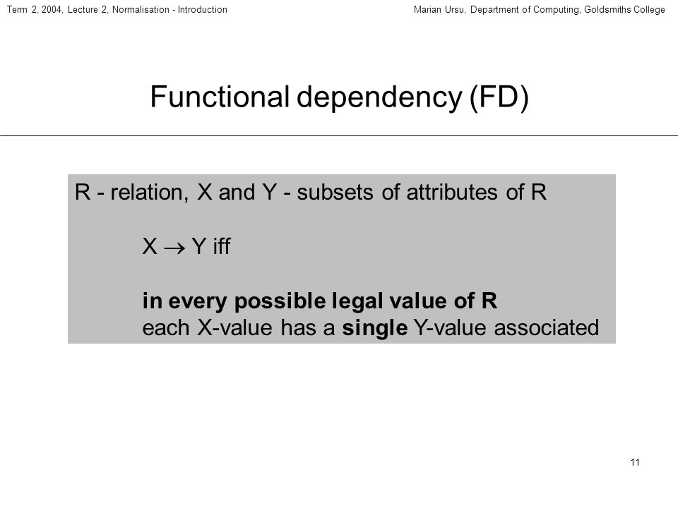 11 Term 2, 2004, Lecture 2, Normalisation - IntroductionMarian Ursu, Department of Computing, Goldsmiths College Functional dependency (FD) R - relati