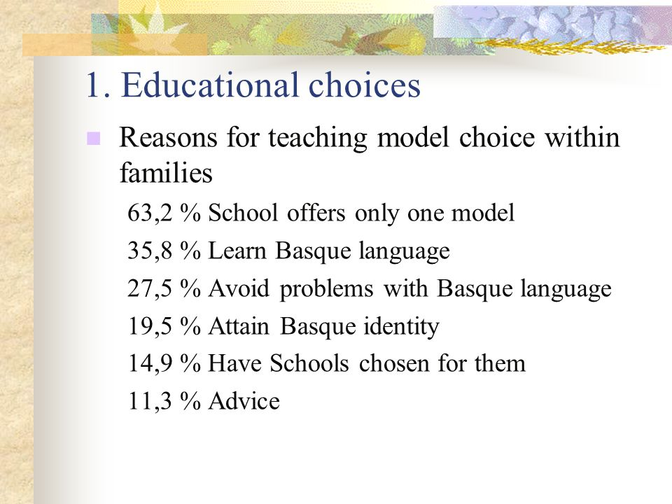 1. Educational choices Reasons for teaching model choice within families 63,2 % School offers only one model 35,8 % Learn Basque language 27,5 % Avoid