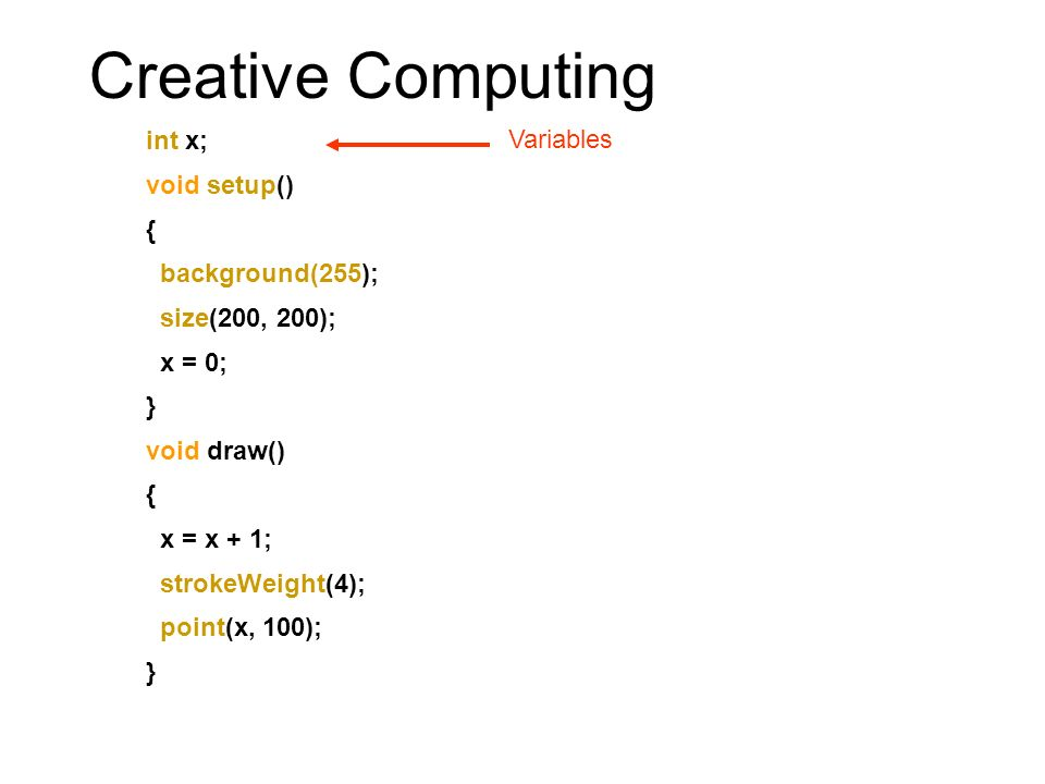 Creative Computing int x; void setup() { background(255); size(200, 200); x = 0; } void draw() { x = x + 1; strokeWeight(4); point(x, 100); } Happens at the start of the program Do any initial set up like changing the size of the screen or the background colour Set the initial values of any variables