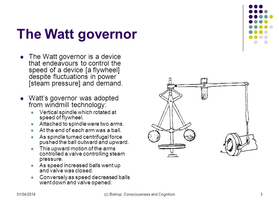 01/04/2014(c) Bishop: Consciousness and Cognition3 The Watt governor The Watt governor is a device that endeavours to control the speed of a device [a
