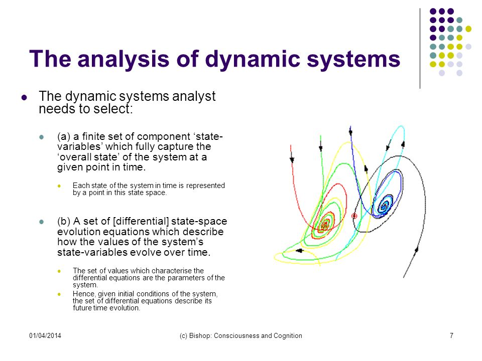 01/04/2014(c) Bishop: Consciousness and Cognition7 The analysis of dynamic systems The dynamic systems analyst needs to select: (a) a finite set of co