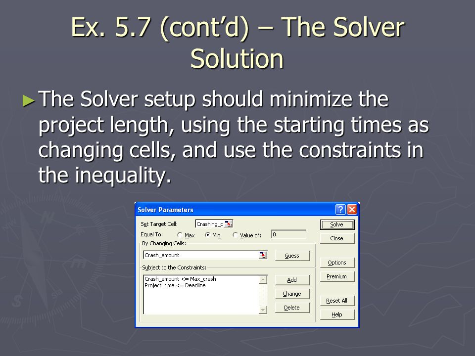 Ex. 5.7 (contd) – The Solver Solution The Solver setup should minimize the project length, using the starting times as changing cells, and use the con