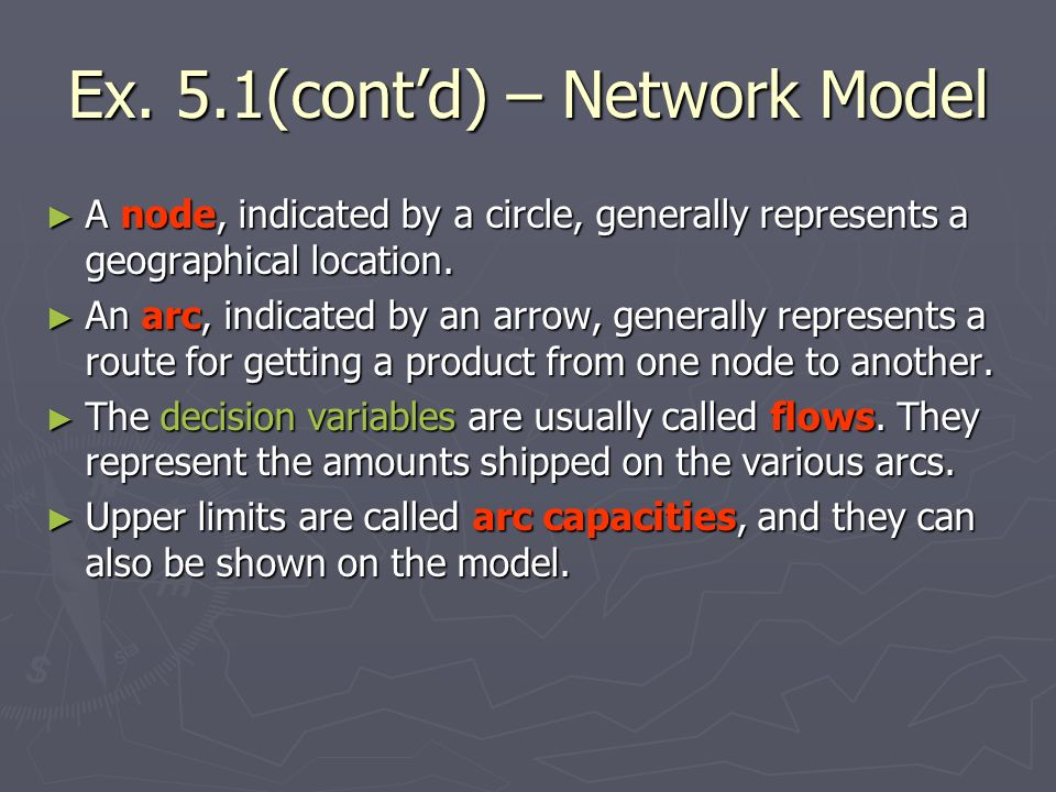 Ex. 5.1(contd) – Network Model A node, indicated by a circle, generally represents a geographical location. A node, indicated by a circle, generally r