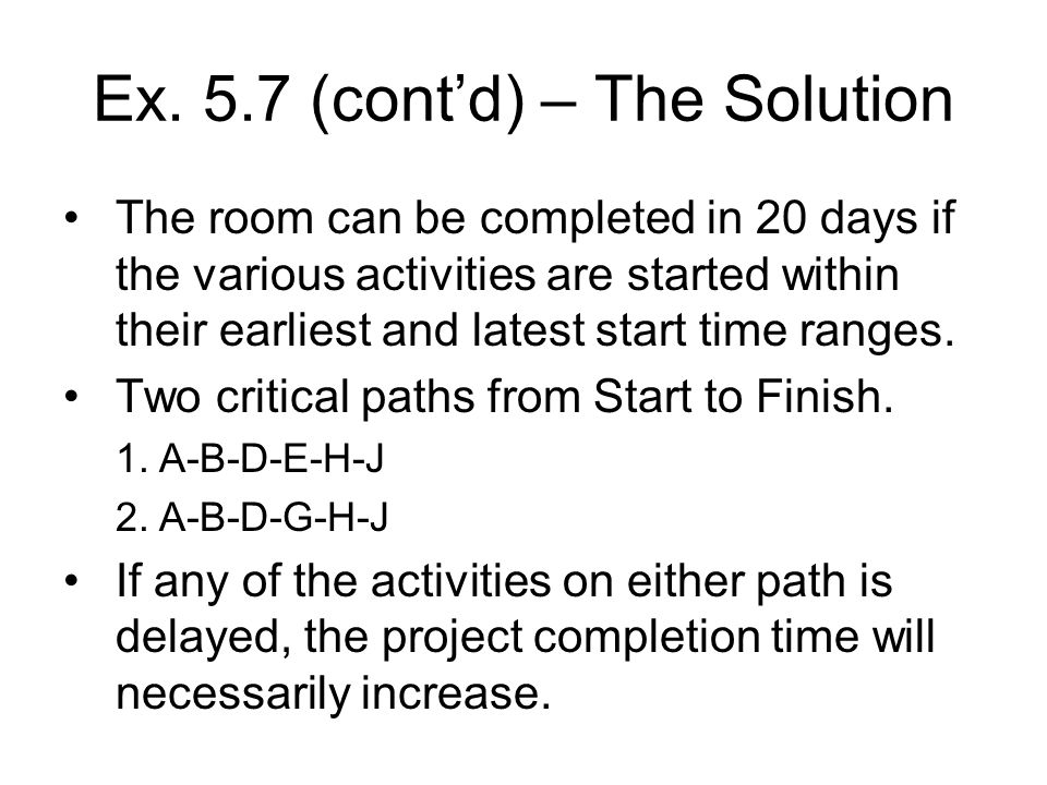 Ex. 5.7 (contd) – The Solution The room can be completed in 20 days if the various activities are started within their earliest and latest start time