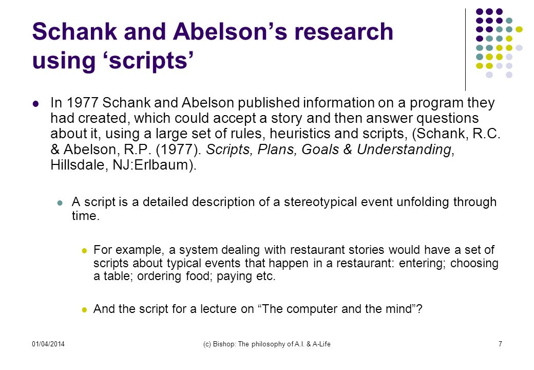 01/04/2014(c) Bishop: The philosophy of A.I. & A-Life7 Schank and Abelsons research using scripts In 1977 Schank and Abelson published information on