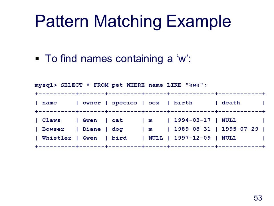 53 Pattern Matching Example To find names containing a w: mysql> SELECT * FROM pet WHERE name LIKE %w% ; +----------+-------+---------+------+------------+------------+ | name | owner | species | sex | birth | death | +----------+-------+---------+------+------------+------------+ | Claws | Gwen | cat | m | 1994-03-17 | NULL | | Bowser | Diane | dog | m | 1989-08-31 | 1995-07-29 | | Whistler | Gwen | bird | NULL | 1997-12-09 | NULL | +----------+-------+---------+------+------------+------------+
