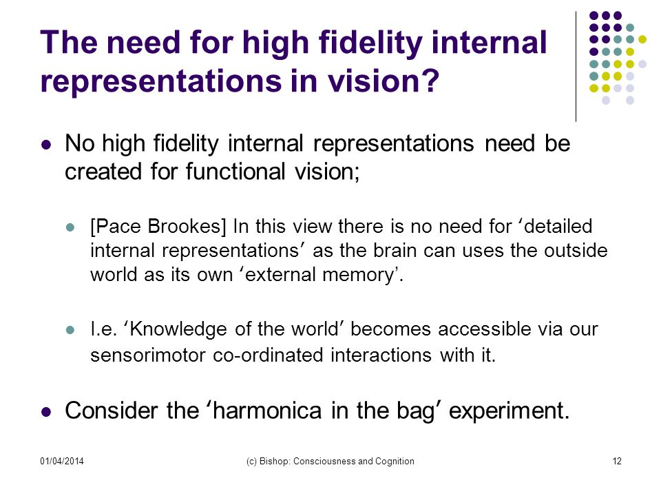 01/04/2014(c) Bishop: Consciousness and Cognition12 The need for high fidelity internal representations in vision? No high fidelity internal represent