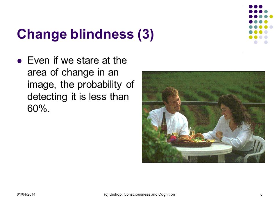 01/04/2014(c) Bishop: Consciousness and Cognition7 Change blindness (4) The further away a change takes place from the area that we are attending, the less likely we are to notice it even if it quite large..