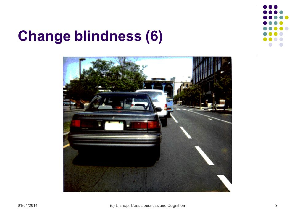 01/04/2014(c) Bishop: Consciousness and Cognition9 Change blindness (6)