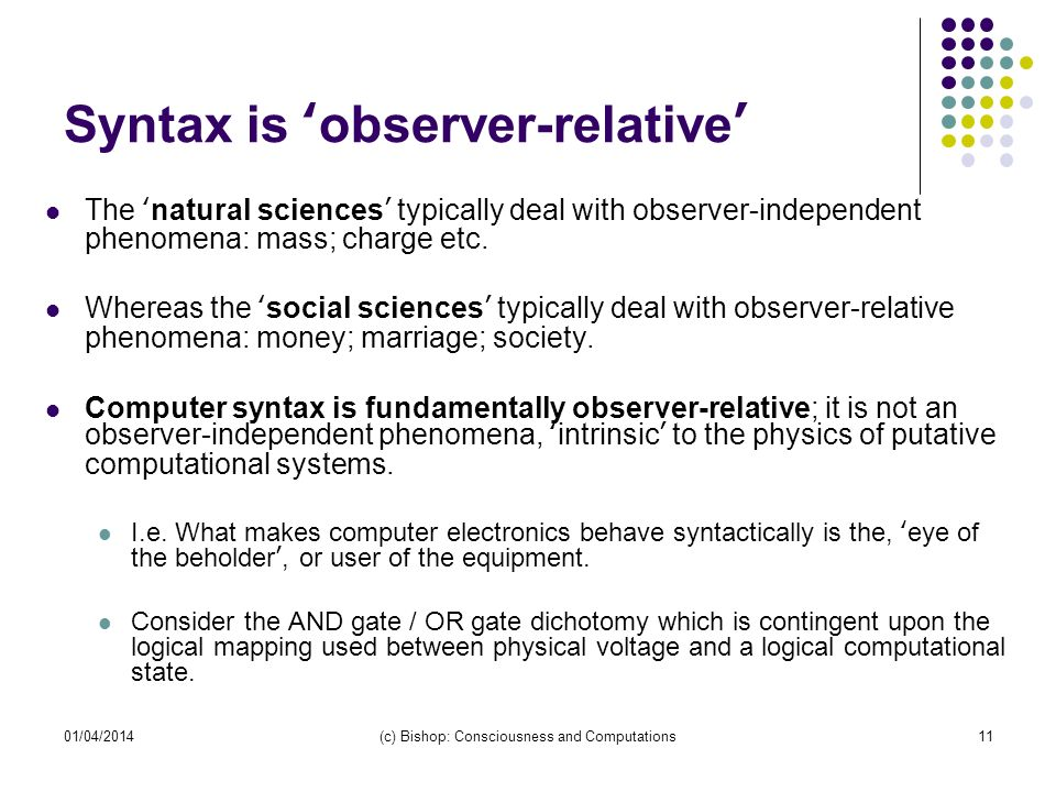 01/04/2014(c) Bishop: Consciousness and Computations11 Syntax is observer-relative The natural sciences typically deal with observer-independent phenomena: mass; charge etc.