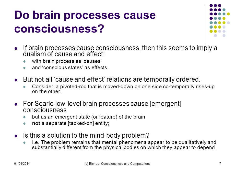 01/04/2014(c) Bishop: Consciousness and Computations7 Do brain processes cause consciousness.